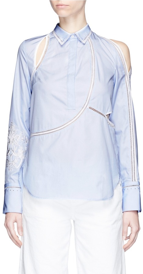 3.1 Phillip Lim 3.1 Phillip Lim Victoriana crest embroidered cutout poplin blouse