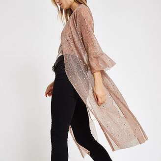River Island Light pink sequin kimono duster jacket