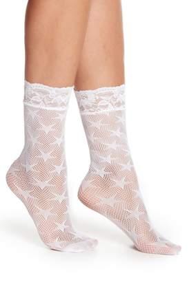 Free Press Lace Top Star Fishnet Socks