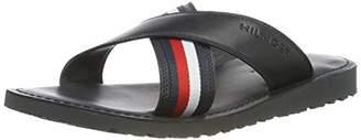 dae3e6cae483 Tommy Hilfiger Men s Criss Cross Leather Sandal Flip Flops