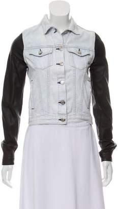 Rag & Bone Leather-Sleeved Denim Jacket