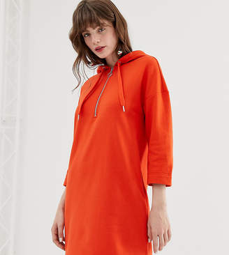 Monki hooded sweatshirt dress in orange