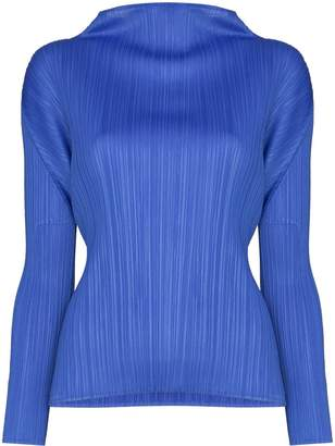 Pleats Please Issey Miyake high neck pleated top
