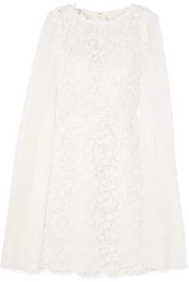Giambattista Valli Cape-effect Guipure Lace And Chiffon Mini Dress - Ivory