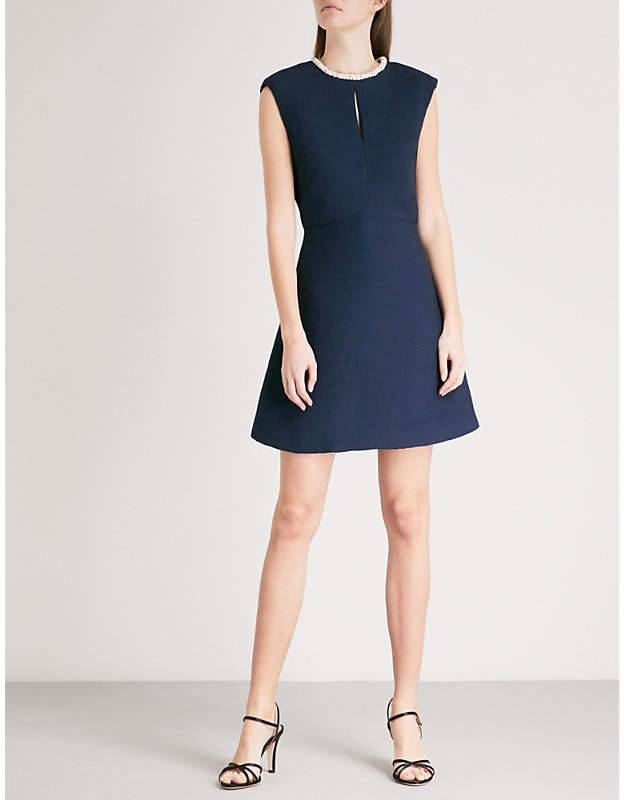 Faux pearl-embellished woven dress