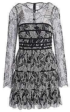 Halston Women's Strapping Detail Lace Dress