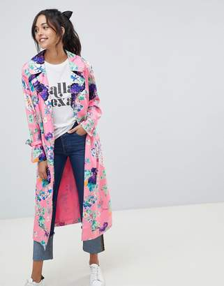 Asos Design Printed Floral Duster Coat
