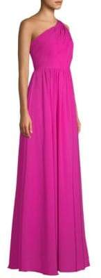 Laundry by Shelli Segal One-Shoulder Chiffon A-Line Gown