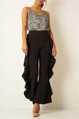 Frontrow Black Side-Frill Trousers