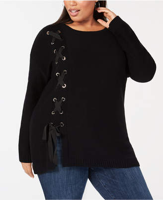 INC International Concepts I.n.c. Plus Size Side Lace-Up Tunic Sweater