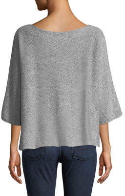 eskandar Round-Neck Short-Sleeve Short Cashmere-Blend Knit Sweater