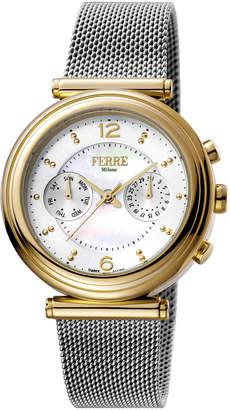 Ferré Milano Women's 36mm Stainless Steel Day/Date Watch with Bracelet, Golden/Steel