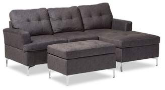 Baxton Studio Riley Modern and Contemporary Grey Fabric Upholstered 3-Piece Sectional Sofa with Ottoman Set