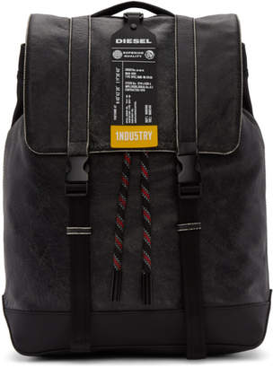 Diesel Black Leather Volpago Backpack