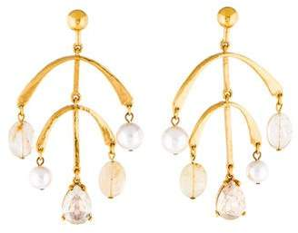Oscar de la Renta Faux Pearl, Citrine & Crystal Mobile Drop Earrings