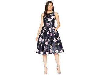 Tahari ASL Printed Floral Fit Flare Party Dress
