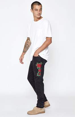 PacSun Skinny Comfort Stretch Rose Embroidered Black Jeans