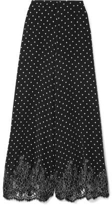 story. Rosamosario - Chaplin's Love Lace-trimmed Polka-dot Silk-crepe Pajama Pants - Black
