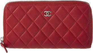 Chanel Red Quilted Lambskin Leather Long Wallet