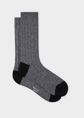 Paul Smith Men's Grey Wool-Cashmere Socks With Black Details