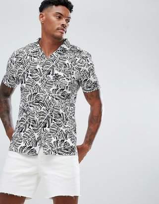 Soul Star Monochrome Leaf print Shirt