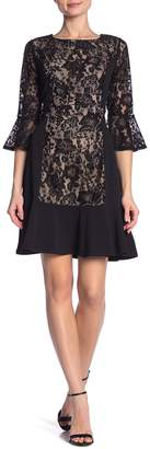 New York Collective 3/4 Bell Sleeve Round Neck Dress