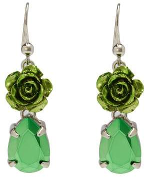 Prada Rose Drop Earrings - Womens - Green