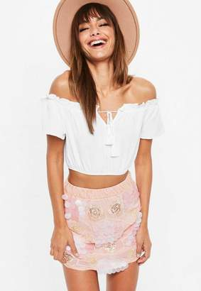 Missguided Pink Sequin Embroidered Mini Skirt