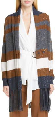 Brunello Cucinelli Fringe Trim Sequin Stripe Wool & Silk Cardigan