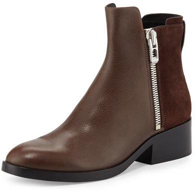 3.1 Phillip Lim3.1 Phillip Lim Alexa Zip Leather Ankle Bootie, Chocolate/Espresso