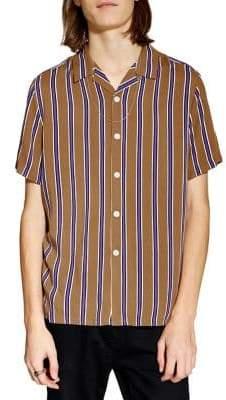 Topman Short-Sleeved Vertical Striped Button-Down Shirt
