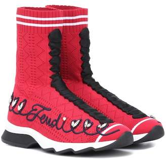 Fendi Embroidered high-top sneakers