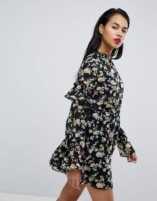 Missguided Frill Sleeve Floral Dress