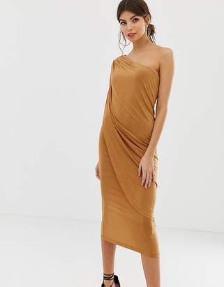 Asos DESIGN one shoulder drape slinky midi dress