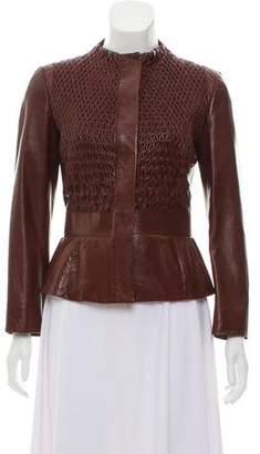 Valentino Collarless Leather Jacket