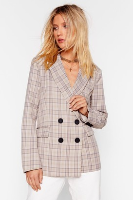 Nasty Gal Womens What The Check Double Breasted Blazer - Beige - S, Beige