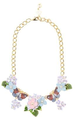 Crystal and leather-embellished floral necklace