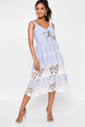 boohoo Boutique Stripe Lace Insert Skater Dress