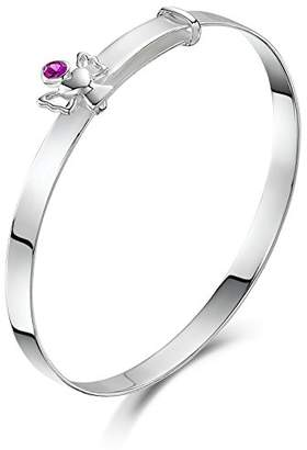 Jo for Girls Silver Expandable Baby Bangle with July Birthstone Angel of 40-47mm