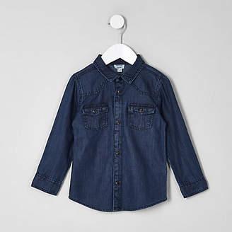 River Island Mini boys mid blue western denim shirt