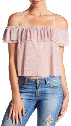 En Creme Ruffle Cold Shoulder Shirt $34 thestylecure.com