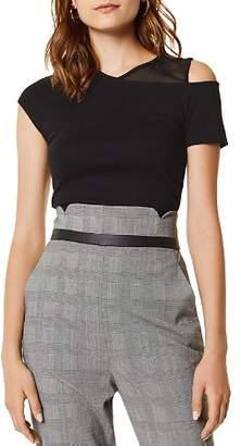 Karen Millen Mesh-Inset Cold-Shoulder Tee