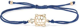 Leon Yvonne 9-karat Gold, Silk And Diamond Bracelet