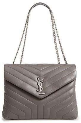 Saint Laurent Medium Loulou Calfskin Leather Shoulder Bag - Grey $1,990 thestylecure.com