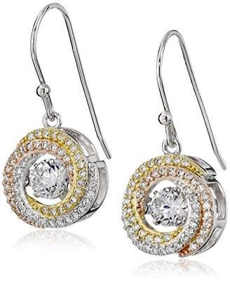 Tri-Tone Sterling Silver Dancing Cubic Zirconia Dangle Earrings