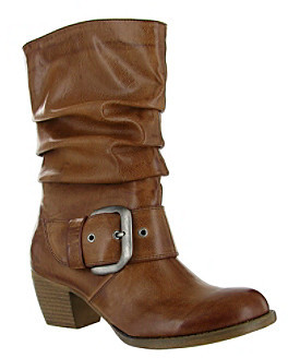 """Mia Jagger"""" Mid-Shaft Bootie with Buckle - Luggage"""