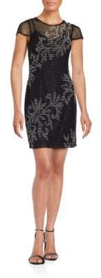 Aidan Mattox Short Sleeve Beaded Dress