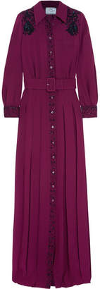 Prada Embellished Belted Pleated Crepe De Chine Gown - Burgundy
