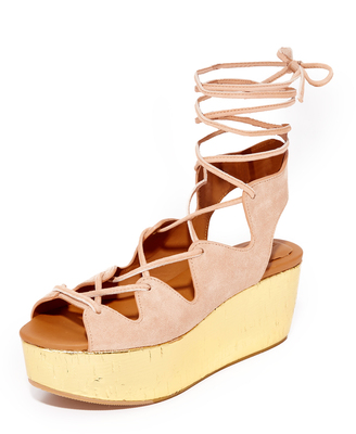 See by Chloe Lilly Wedge Lace Up Sandals $305 thestylecure.com