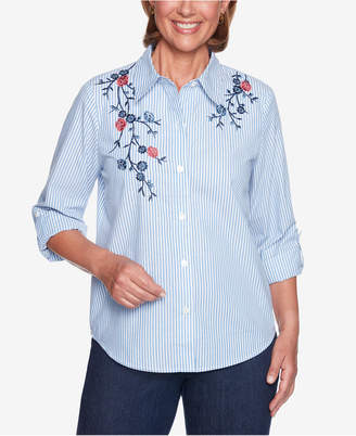 Alfred Dunner News Flash Floral-Applique Shirt